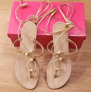 """Lilly Pulitzer Gold """"Lacey"""" Sandals - Size 8"""
